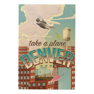 Denver Colorado Cartoon travel poster Wood Prints