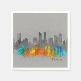 Denver Colorado City Watercolor Skyline b/w-color Disposable Serviette