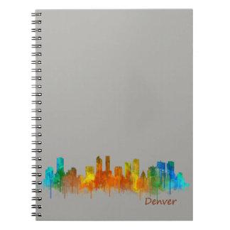 Denver Colorado City Watercolor Skyline Hq v2 Note Book