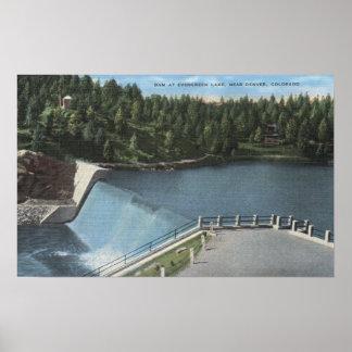 Denver, Colorado - Dam at Evergreen Lake View Poster
