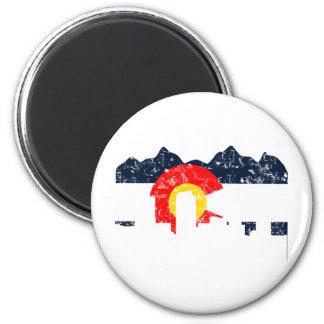 Denver Colorado Flag 6 Cm Round Magnet