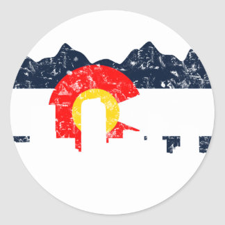 Denver Colorado Flag Classic Round Sticker