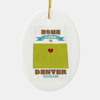 Denver, Colorado Map – Home Is Where The Heart Is Christmas Ornament