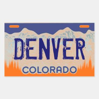Denver Colorado orange blue license plate stickers