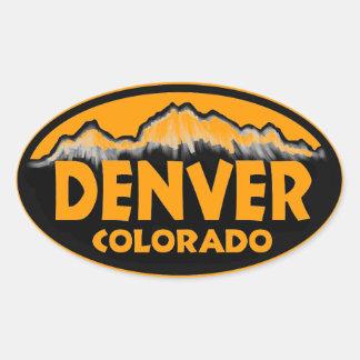 Denver Colorado oval mountains Oval Sticker