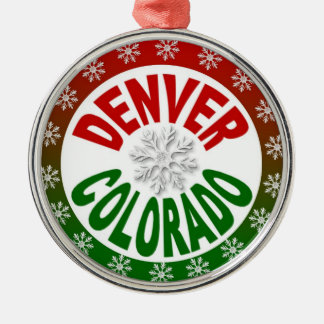 Denver Colorado red green snowflake ornament
