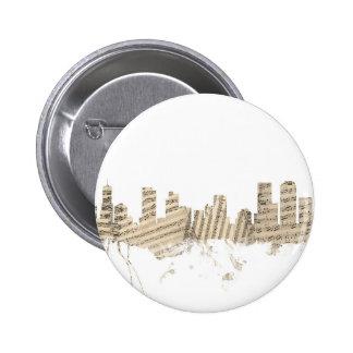 Denver Colorado Skyline Sheet Music Cityscape 6 Cm Round Badge