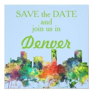DENVER, COLORADO SKYLINE SP 13 CM X 13 CM SQUARE INVITATION CARD