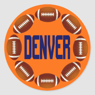 DENVER FOOTBALL CIRCLE ROUND STICKER