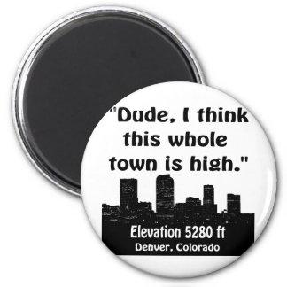 Denver High Town 6 Cm Round Magnet