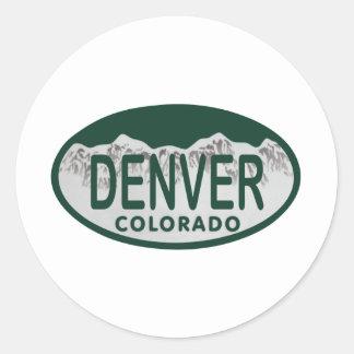 Denver License oval Round Sticker