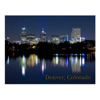 Denver Night Skyline Reflection Postcard
