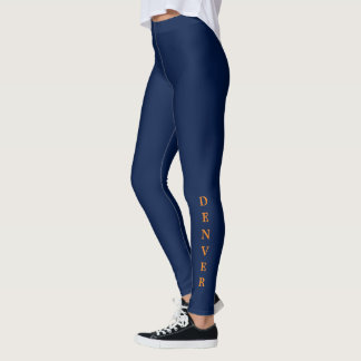 Denver Orange Lettering Blue Leggings
