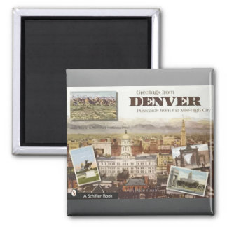 Denver Post Cards From The Mile-High City, Vintage Square Magnet