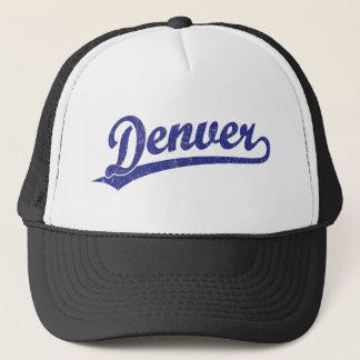 Denver script logo in blue trucker hat