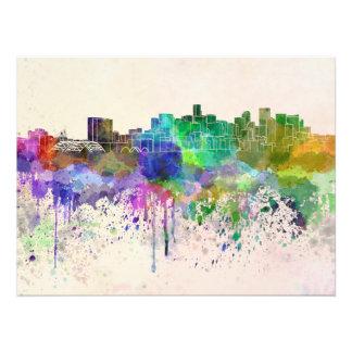 Denver skyline in watercolor background photo
