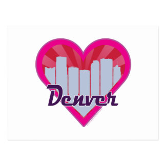 Denver Skyline Sunburst Heart Postcard