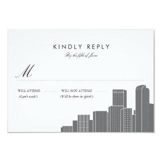 Denver Skyline Wedding RSVP 9 Cm X 13 Cm Invitation Card