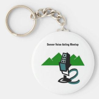 """Denver Voice Acting Meetup """"Mic & ... - Customized Basic Round Button Key Ring"""
