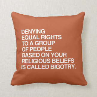 DENYING EQUAL RIGHTS BASED ON YOUR RELIGIOUS BELIE THROW PILLOWS