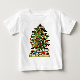 Deocrated christmas tree with gifts placed under baby T-Shirt