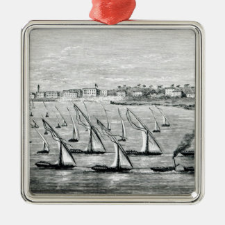 Departure from Khartoum Silver-Colored Square Decoration