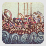 Departure of a Boat for the Crusades, Square Sticker