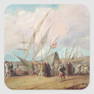 Departure of Christopher Columbus  from Palos Square Sticker
