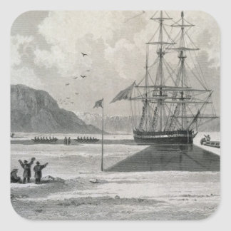 Departure of the boats from Hecla Cove, June 21, 1 Square Sticker