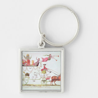 Departure of the Three Orders for Versailles Silver-Colored Square Key Ring