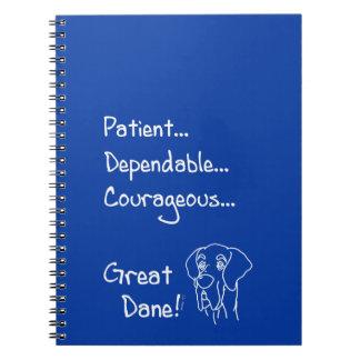 Dependable great dane spiral notebook