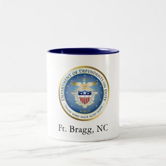 Dependents on Duty Seal, Ft. Bragg, NC Two-Tone Coffee Mug