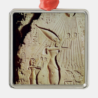 Depicting Amenophis IV, Nefertiti and Daughter Silver-Colored Square Decoration