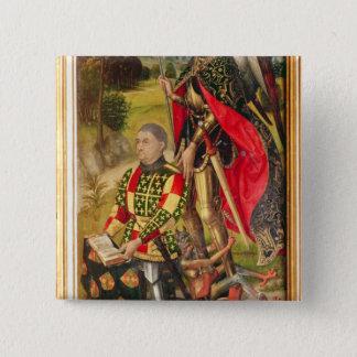 Depicting  donor of  altarpiece, Michel de 15 Cm Square Badge