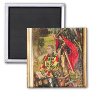 Depicting  donor of  altarpiece, Michel de Square Magnet
