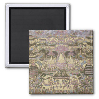 Depiction of Spiritual and Material Worlds Square Magnet