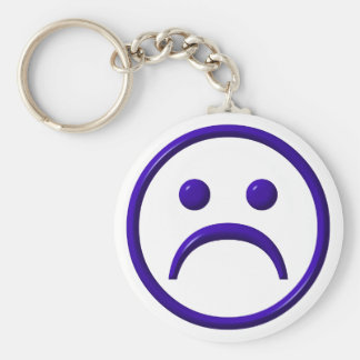 Depressed , Sad & Blue Face Basic Round Button Key Ring