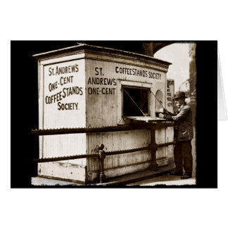 Depression Era One Penny Coffee Stand Greeting Card