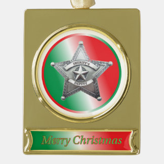 Deputy Sheriff Badge Christmas Ornament Gold Plated Banner Ornament