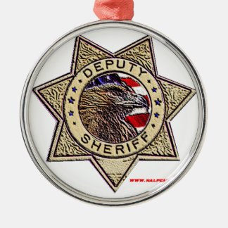 Deputy_Sheriff_emboss Silver-Colored Round Decoration