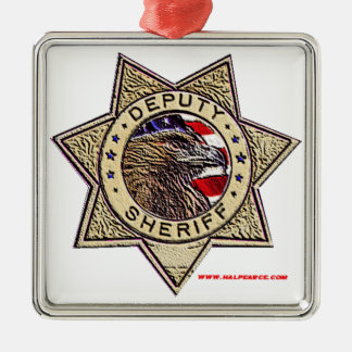 Deputy_Sheriff_emboss Silver-Colored Square Decoration