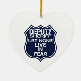 Deputy Sheriff Let None Live In Fear Motto Ceramic Heart Decoration