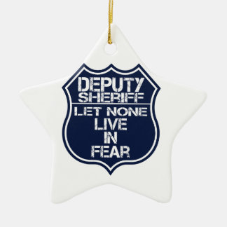Deputy Sheriff Let None Live In Fear Motto Double-Sided Star Ceramic Christmas Ornament