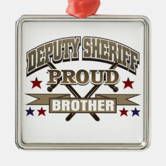 Deputy Sheriff Proud Brother Silver-Colored Square Decoration