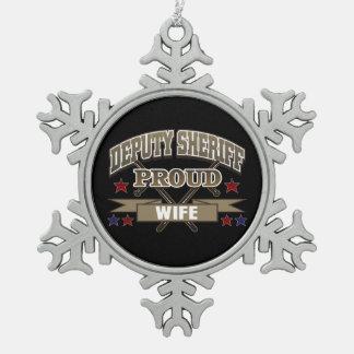 Deputy Sheriff Proud Wife Pewter Snowflake Decoration