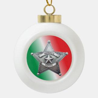 Deputy Sheriff's Star Badge Ceramic Ball Christmas Ornament