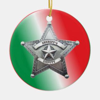 Deputy Sheriff's Star Badge Round Ceramic Decoration