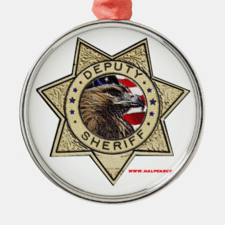 Deputy_Sheriff_Texturized Silver-Colored Round Decoration