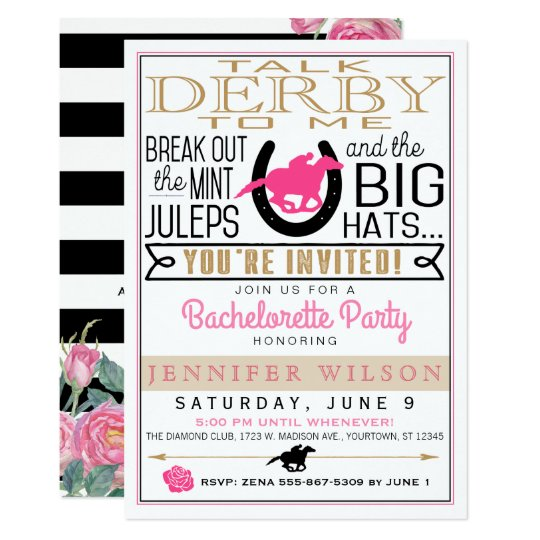 Derby Bachelorette Black/Gold/Pink Roses Custom Card