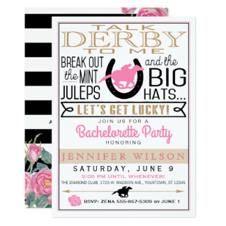 Derby Bachelorette Party Black/Gold/Pink Roses Card